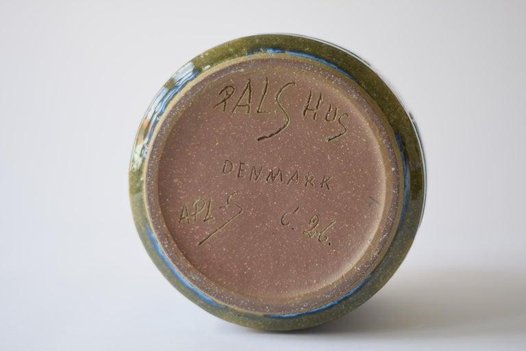 Palshus Denmark Huge Ceramic Vase Green and Blue by Per Linnemann-Schmidt, 1960s For Sale 3