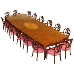 Huge Sheraton Revival Mahogany & Walnut Dining Table & 16 Hepplewhite Armchairs
