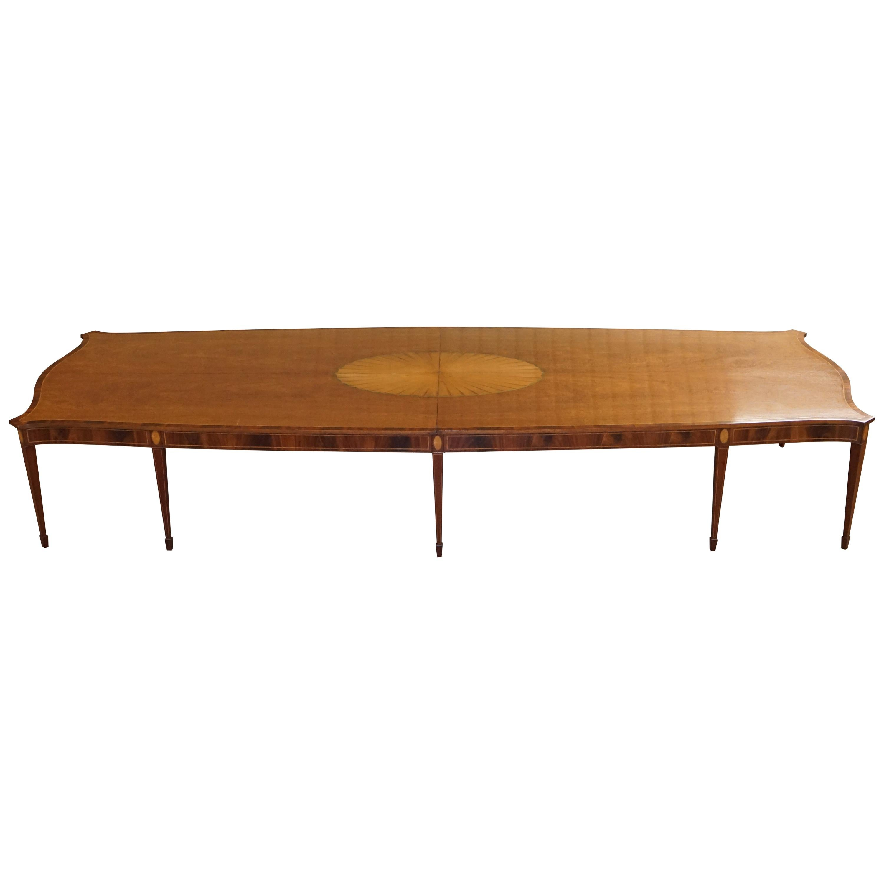 Huge Sheraton Revival Hardwood & Walnut Dining Table Matching Chairs Available