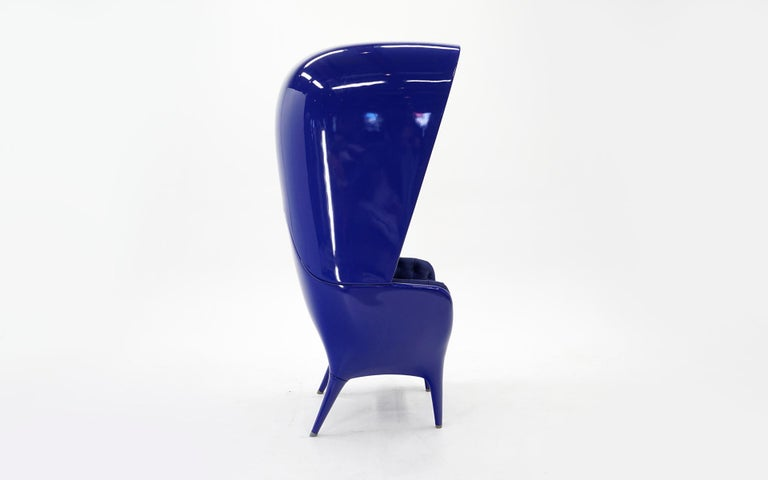 Post-Modern Huge Showtime Armchair by Jaime Hayon, Spain, 2006, Blue Fiberglass and Leather For Sale