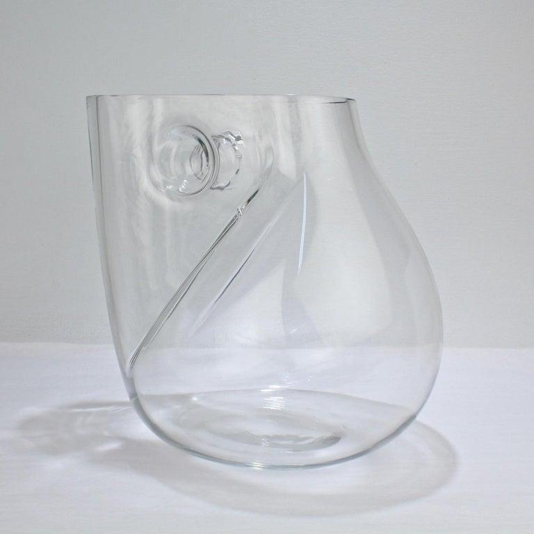 Post-Modern Huge Signed Barbini Asymmetrical Modernist Murano Glass Vase For Sale