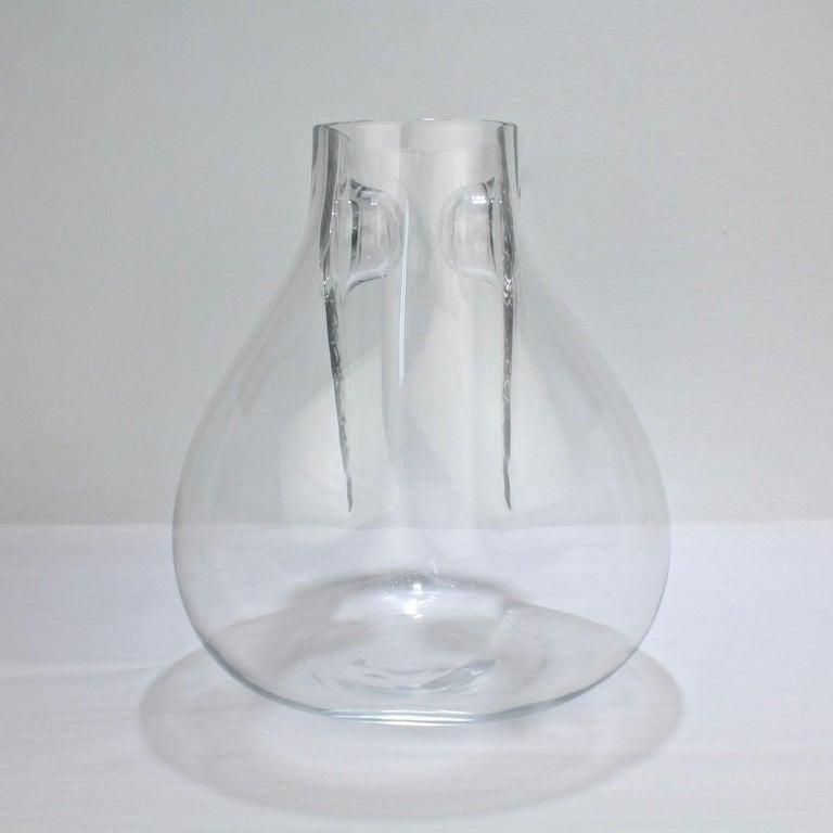 Italian Huge Signed Barbini Asymmetrical Modernist Murano Glass Vase For Sale