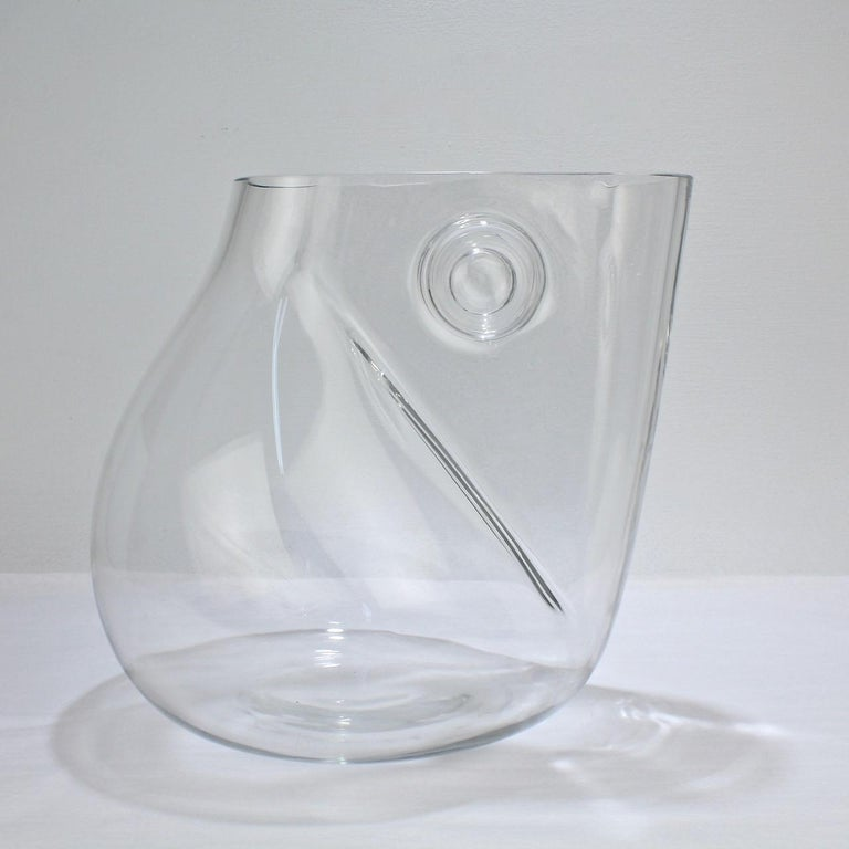 Huge Signed Barbini Asymmetrical Modernist Murano Glass Vase In Good Condition For Sale In Philadelphia, PA