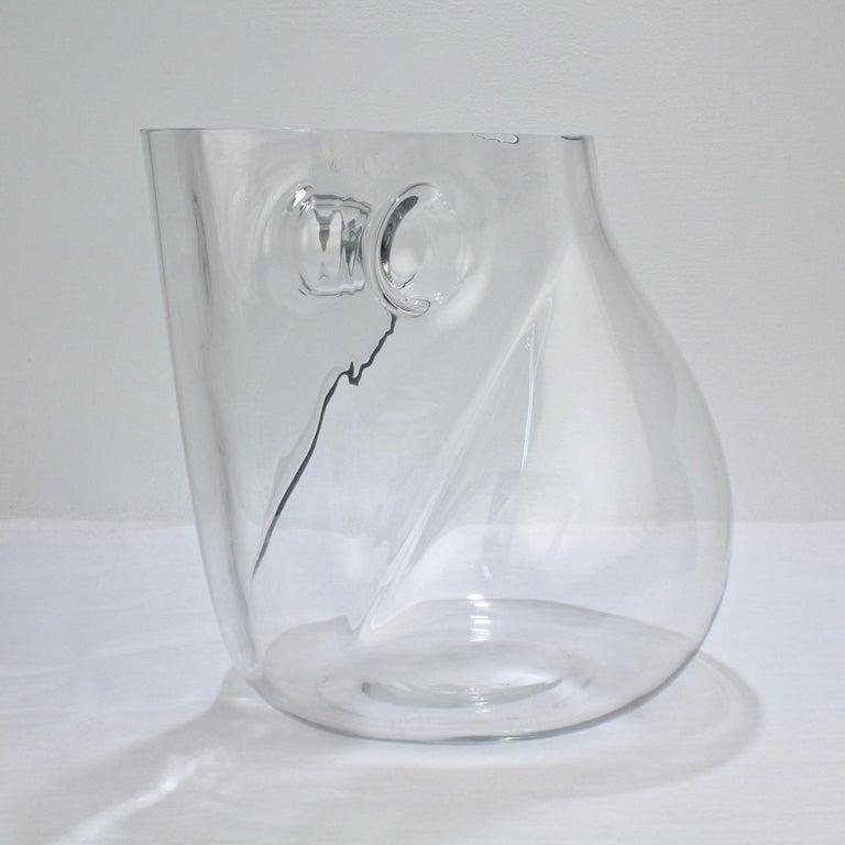 Huge Signed Barbini Asymmetrical Modernist Murano Glass Vase For Sale 1