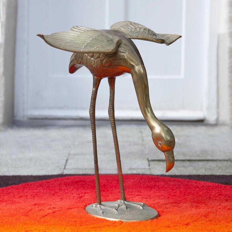 Huge Solid Brass Flamingo Sculpture Set of 2, Italy, 1970s 1