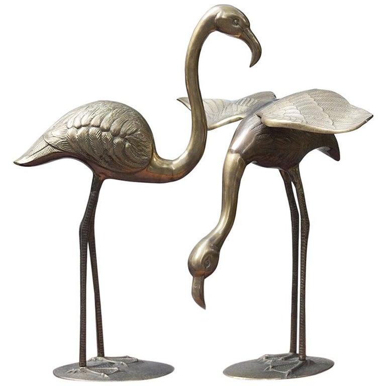 Huge Solid Brass Flamingo Sculpture Set of 2, Italy, 1970s
