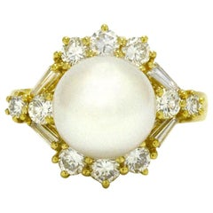 Huge South Sea Pearl and Diamond Cocktail Ring 1 Carat Total Dome 18 Karat Gold