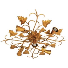 Huge Spanish Foliate Floral Chandelier Flush Mount in Gilt Wrought Iron
