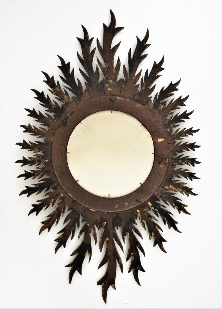 Giltwood Oval Sunburst Mirror, 1950s For Sale 2