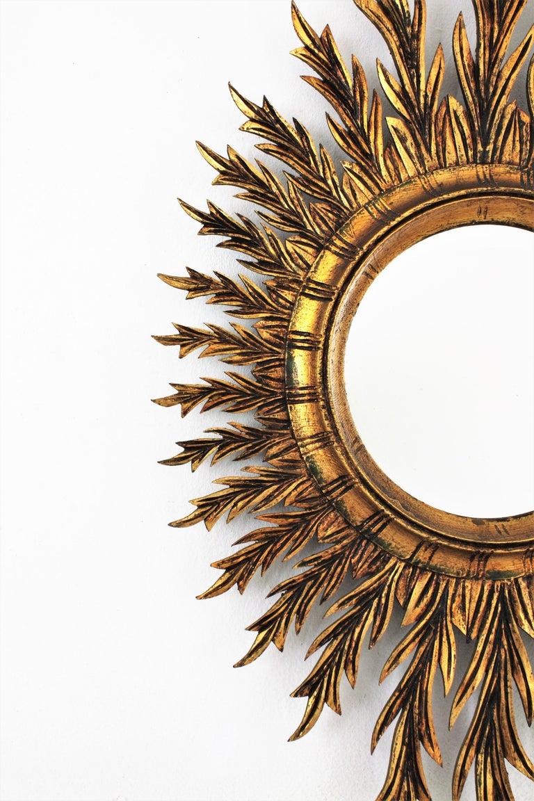 20th Century Giltwood Oval Sunburst Mirror, 1950s For Sale