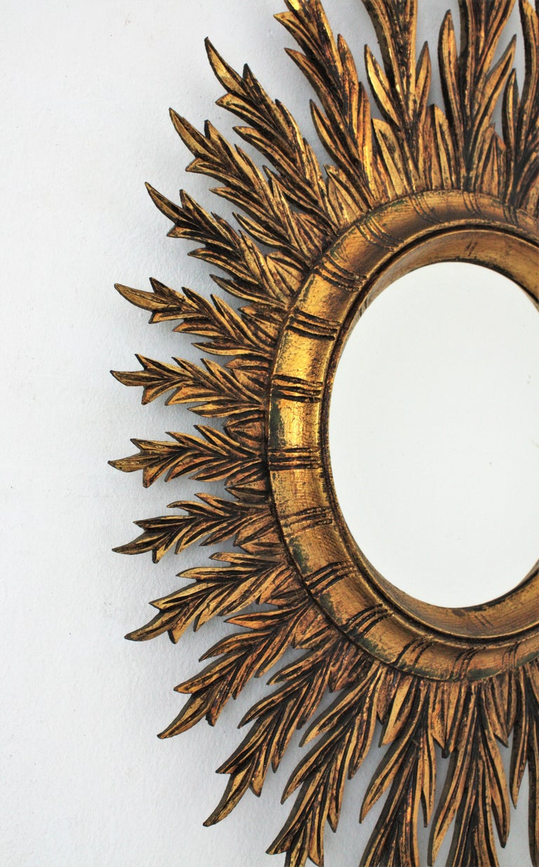 Giltwood Oval Sunburst Mirror, 1950s For Sale 1