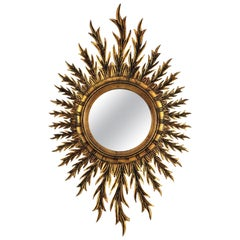 Huge Spanish Giltwood Oval Sunburst Mirror, 1960s