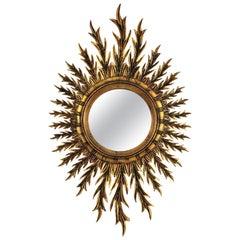 Giltwood Oval Sunburst Mirror, 1950s