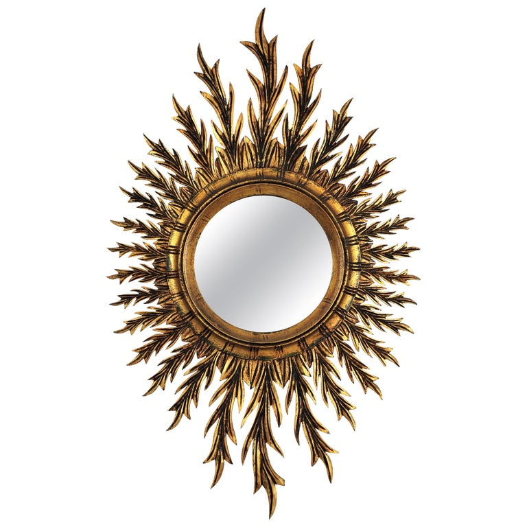 Giltwood Oval Sunburst Mirror, 1950s For Sale