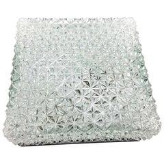 Huge Square Erco Ice Glass and Bakelite Flush Mount Vintage German, 1960s