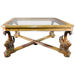Huge Square RJ Horner Style Griffin Carved Beveled Glass Top Dining Table