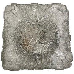 Huge Square Wave Pattern Ice Glass Flush Mount Vintage German, 1960s
