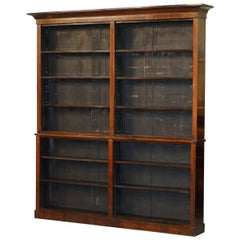 Huge Sublime Solid Rare Wood Victorian Library Open Front Bookcase