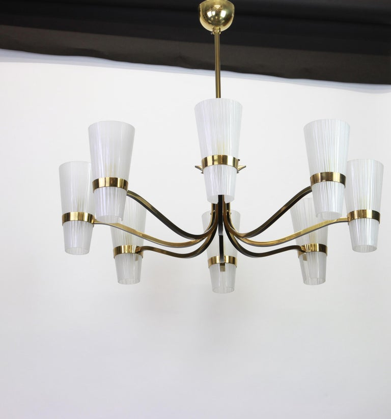 German Huge Sunburst Brass and Glass Chandelier, Stilnovo Style, 1950s For Sale