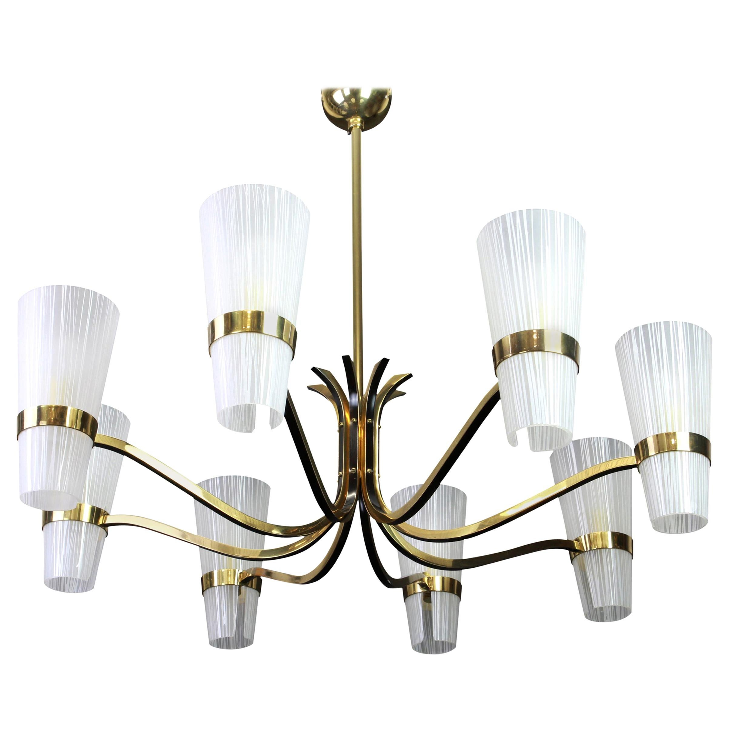 Huge Sunburst Brass and Glass Chandelier, Stilnovo Style, 1950s