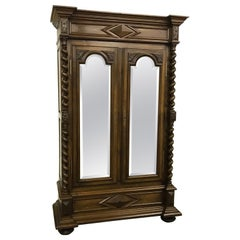Huge Tall Barley Twist French Carved Walnut Armoire Wardrobe with Mirrored Doors