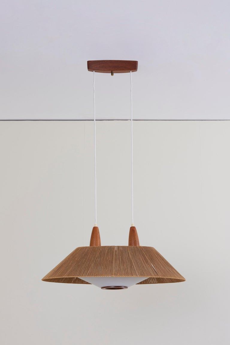 Huge Temde Pendant Lamp With Cord Shade And Perspex Diffuser