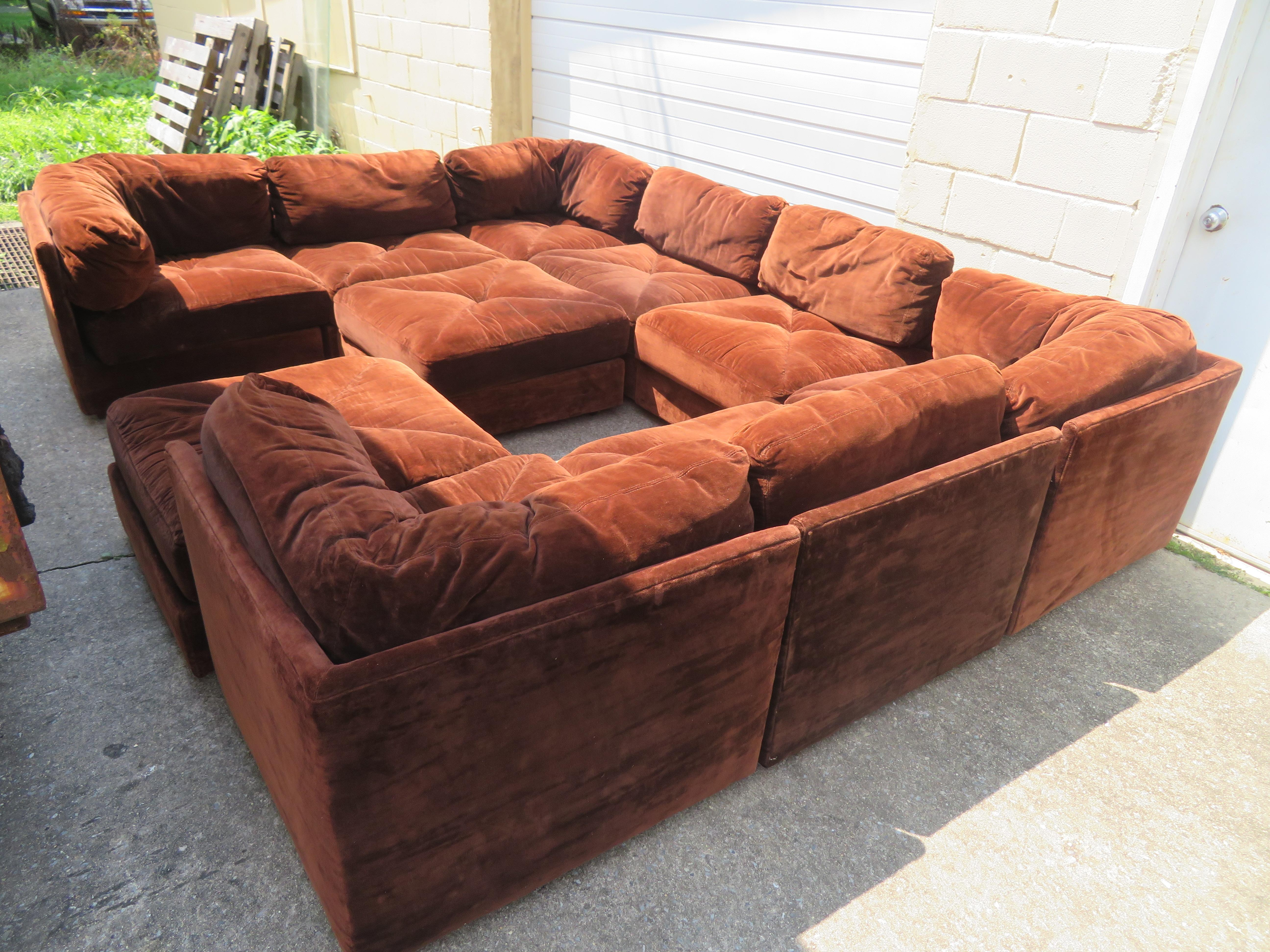 Huge Ten-Piece Milo Baughman Style Selig Sectional Sofa Mid-Century ...