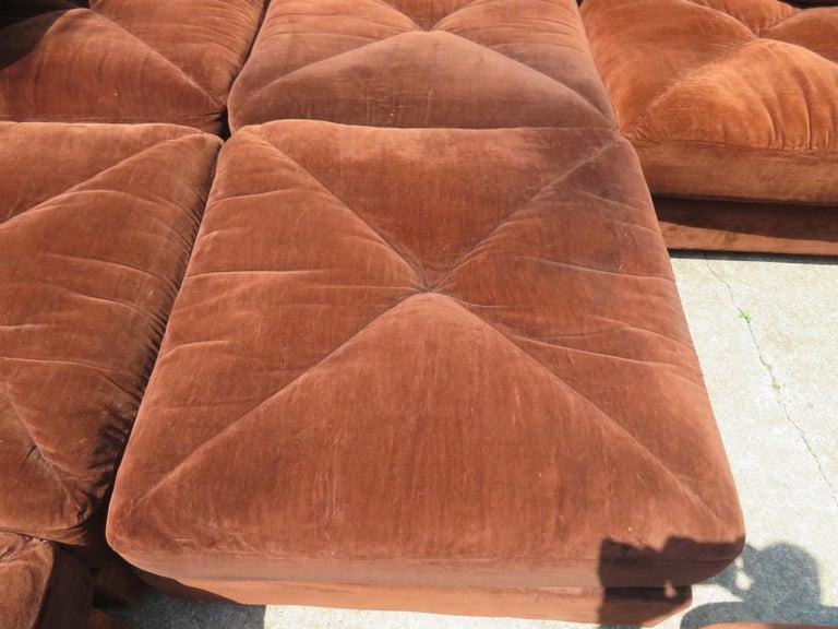 Upholstery Huge Ten-Piece Milo Baughman Style Selig Sectional Sofa Mid-Century Modern