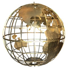 Huge Three Dimensional Gilt Metal World Globe Sculpture