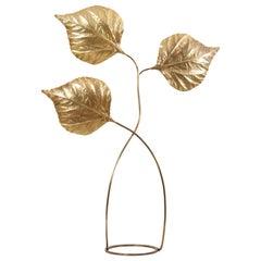 Huge Three Rhubarb Leaves Brass Floor Lamp by Tommaso Barbi