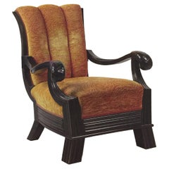Huge Throne, Otto Prutscher Attributed Chair, Beechwood and Floral Upholstery