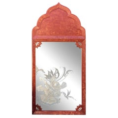 Huge Tony Duquette Red Full Length Floor Mirror with Etched Nude Maiden