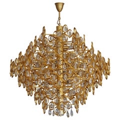 Huge Unique 24-Carat Gold-Plated and Cut Crystal Chandelier, circa 1970s