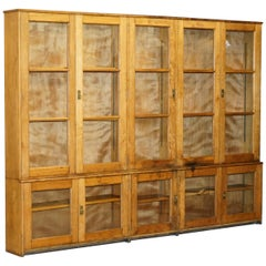 Huge Victorian 1880 English Oak Library Bookcase with Glazed Doors Top & Bottom