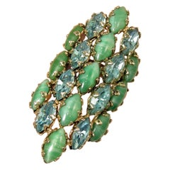 Huge Vintage 1960s Aqua/Green Adjustable Ring