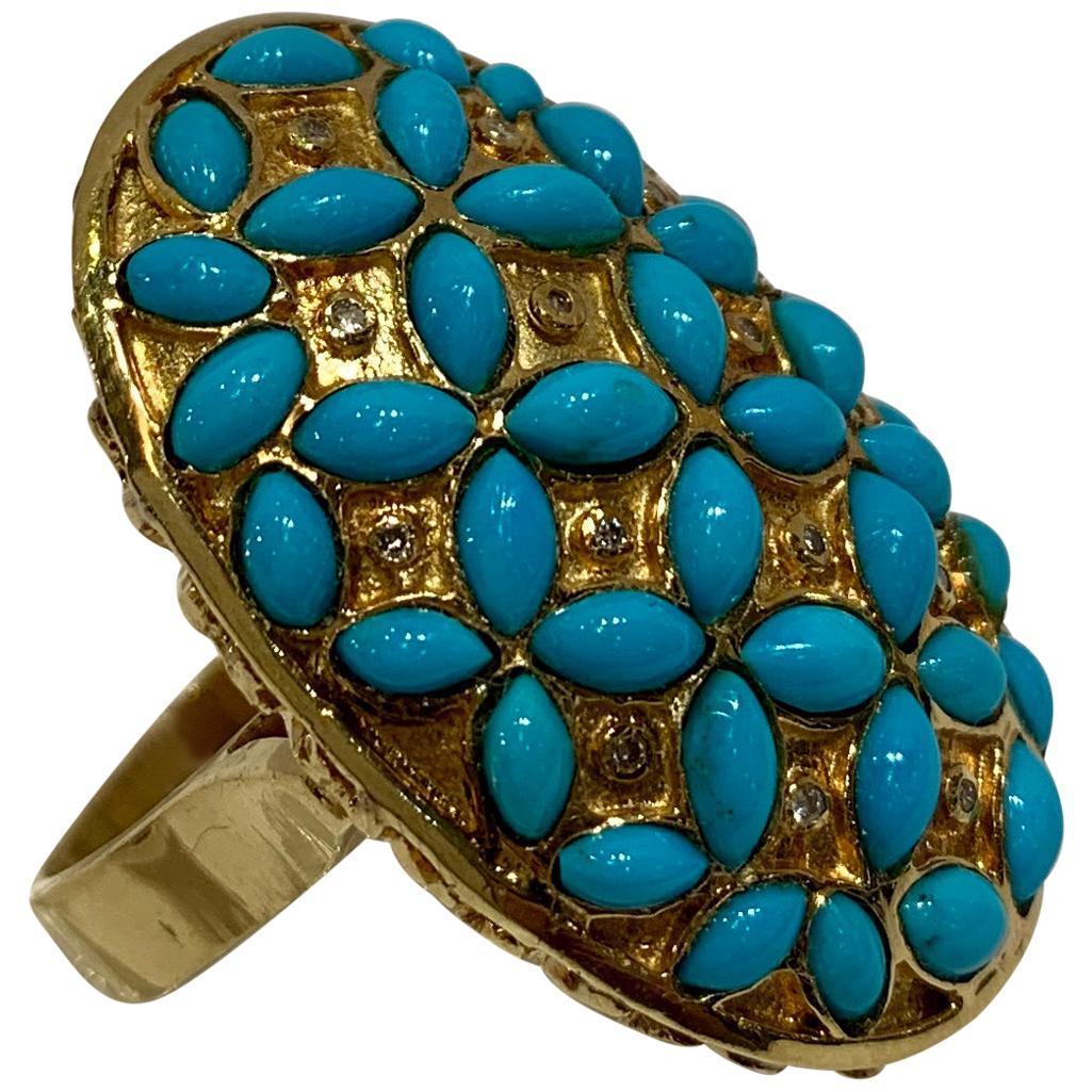 Huge Vintage 1970s Persian Turquoise Diamond 18 Karat Yellow Gold Cocktail Ring