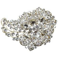 "Huge Vintage 4-3/4"" Crystal Floral Brooch"