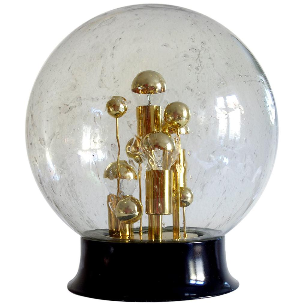 Huge Vintage Blown Glass Globe Table or Floor Light, 1970s