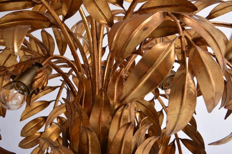 Huge golden Hollywood Regency palm tree floor lamp by Hans Kögl For Sale 4