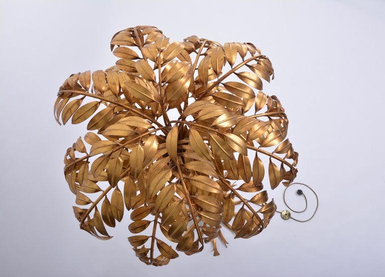 Huge golden Hollywood Regency palm tree floor lamp by Hans Kögl For Sale 5