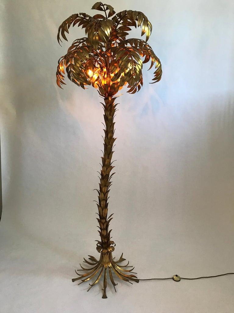 Huge golden Hollywood Regency palm tree floor lamp by Hans Kögl For Sale 6