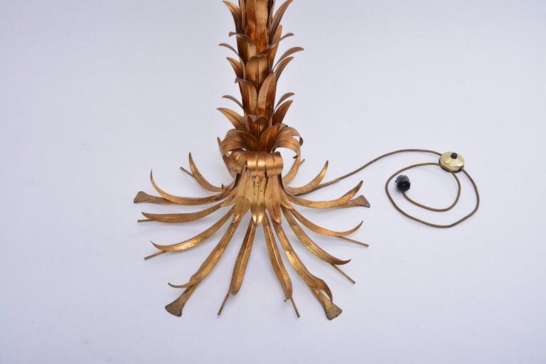 Italian Huge golden Hollywood Regency palm tree floor lamp by Hans Kögl For Sale