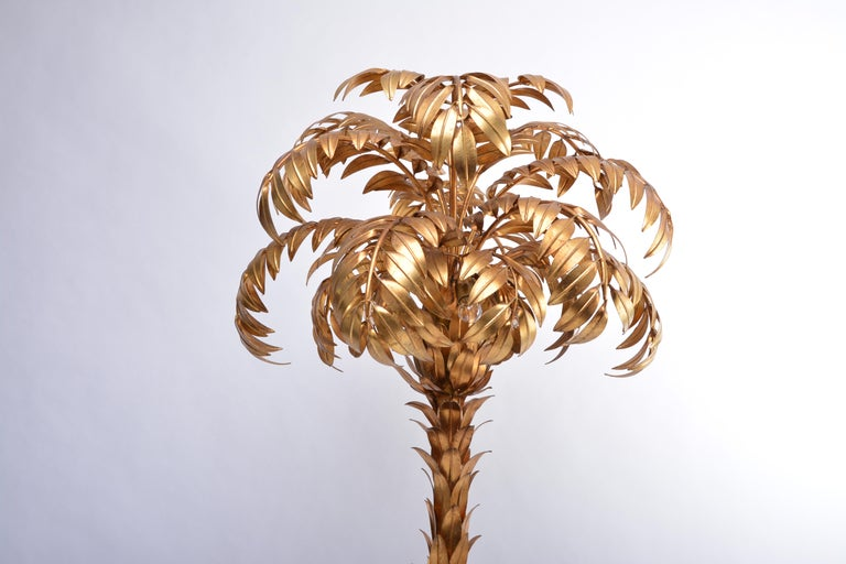 Late 20th Century Huge golden Hollywood Regency palm tree floor lamp by Hans Kögl For Sale