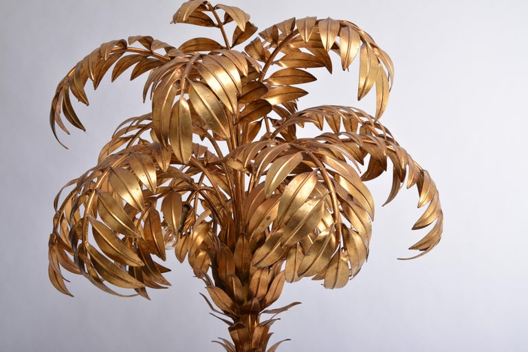 Huge Vintage Golden Palm Tree Floor Lamp By Hans Kogl Circa 1980s