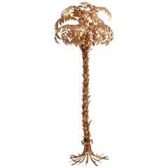 Huge golden Hollywood Regency palm tree floor lamp by Hans Kögl