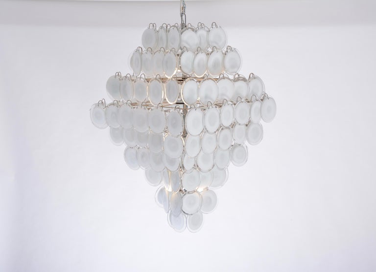 Huge vintage Italian chandelier with white Murano glass discs in the style of Gino Vistosi