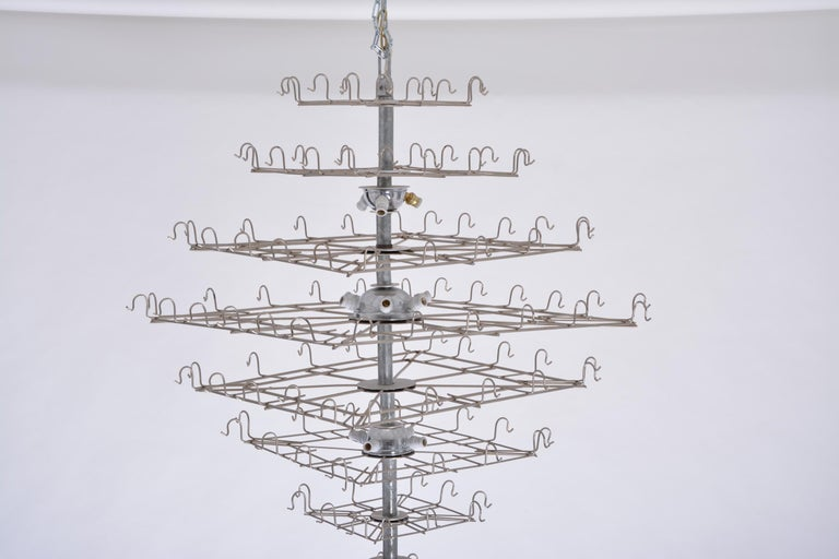 20th Century Huge Vintage Italian Chandelier with White Murano Glass Discs For Sale