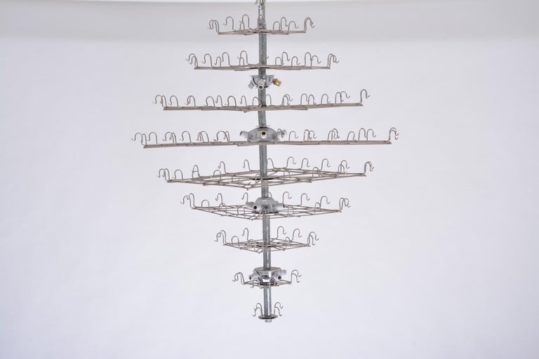 Huge Vintage Italian Chandelier with White Murano Glass Discs For Sale 1