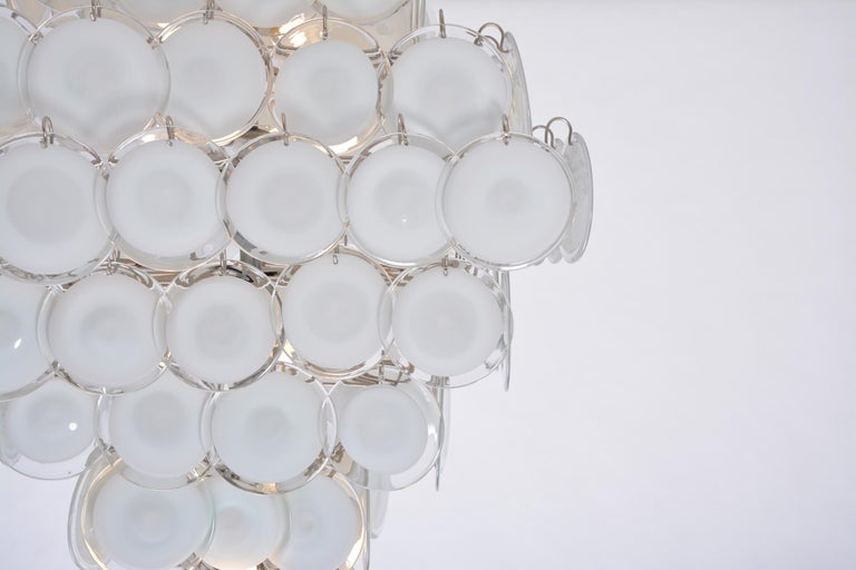 Huge Vintage Italian Chandelier with White Murano Glass Discs For Sale 2