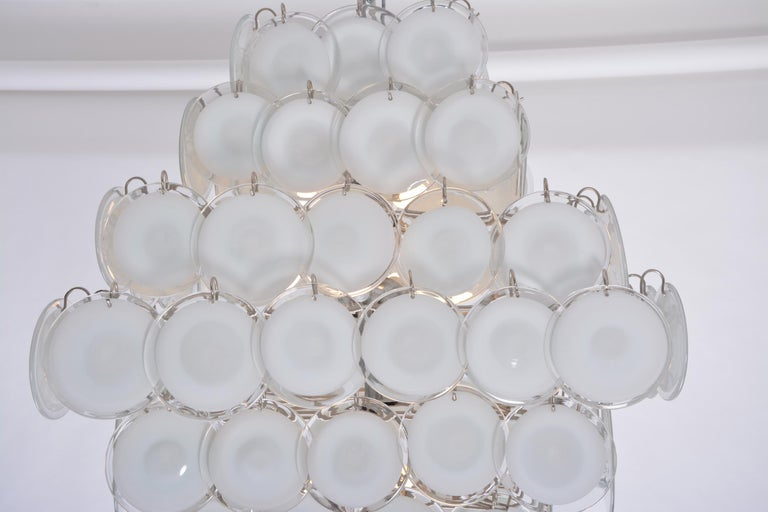 Huge Vintage Italian Chandelier with White Murano Glass Discs For Sale 3